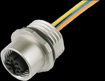 M12 female receptacle D-cod. front mount